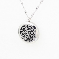 american pads - Hollow Silver Aromatherapy Essential Oil Diffuser Necklace Locket Pendant L Stainless Steel Jewelry With mm Free Pads