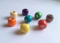 Wholesale multi coloured hair braid dread dreadlock wooden Beads rings approx mm hole