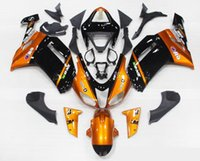 Wholesale 3 Free gifts New ABS Plastic motorcycle Fairing Kits For Kawasaki Ninja ZX6R R bodywork set hot black orange