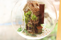Wholesale DIY Glass Ball Doll House Model Building Kits Wooden Mini Handmade Miniature Dollhouse Toy Birthday Christmas Gift