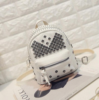 Wholesale 2016 New Lady bags Korean wave Rivet washed pu soft leather shoulder bag College Wind Ms mini backpack