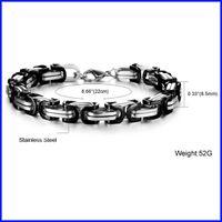 Alto acero inoxidable pulido España-negro y plata chica de moda unisex de la alta pulsera de acero inoxidable 316L pulido