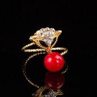 Plaqué or réglable mignon animal Fox anneaux de cristal perle rouge pour les femmes bagues uniques cadeaux d'anniversaire DHR265