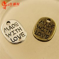 Wholesale A1270 MM Antique Bronze Retro card manual DIY silver jewelry accessories MADE WITH LOVE word charms message charm pendant beads