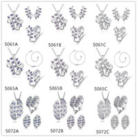 Wholesale Digital feather silver Necklace Anklet Earring Ring set EMSS32 women s gemstone sterling silver jewelry sets sets a mixed style