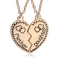Nueva Hija Madre collar corazón roto Dos piezas de joyería plateada plata del corazón del collar pendiente de la manera de miembros de la familia de la mamá regalo