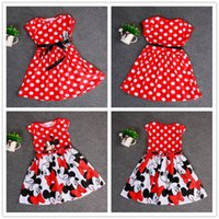 Wholesale Hot Sale Designs Girls Summer Clothing Baby Girls Dress Lovely Color Dot Mickey Mouse Minnie Dress Baby Clothes Kids clothing LA278