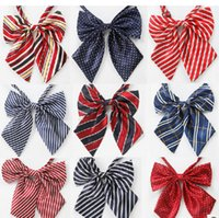 Wholesale 10 of neckties female striped tie A flight attendant bank neckties Red yellow blue stripes dots bowknot