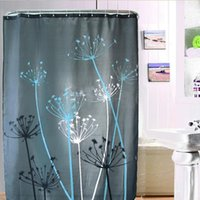 Wholesale Dandelion Pattern Waterproof Polyester Bathroom Shower Curtain with Hooks