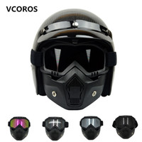 half face helmet - VCOROS mask face mask Detachable lenses and mouth for Open Face Motorcycle Half Helmet or Vintage Helmets