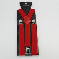 Wholesale Women s Skinny Suspenders Men s Slim Braces Unisex Adjustable Metal Clip on Solid Red BD805