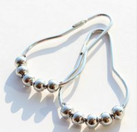 Wholesale Fashion Hot Polished Satin Nickel Roller ball Shower Curtain Rings Curtain Stainless Steel Hooks DHL Free