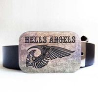 belt buckles motorcycle - Disom Hells Angels MC Motorcycle Belt Buckle From Games Match With CM Black Pu Belts Drop shipping