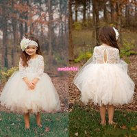 baby girls christmas wear - Cute Ball Gown Boho Country Wedding Flower Girl Dresses Illusion Long Sleeve Tutu Skirt Tea Length Cheap Baby Kids First Communion Wear