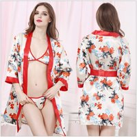 Wholesale Hot Piece Set Robes Women Sleepwear Sexy Home Kimono Transparent Bathrobes Sauna Sexy Erotic Lingerie Plus Size LYQ
