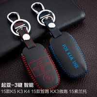 accessories for auto kia - For Kia K5 K4 K3 sportage sorento Buttons Smart Hand Sewing Genuine leather Remote Control Car Key chain Car key cover Auto Accessories