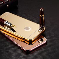 Wholesale Mirror metal electroplated iphone7 plus s plus hard phone case cover with bolish mirror make up protect surface