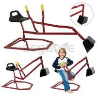 backhoe digger - Red Outdoor Backyard Toy Metal Digger Beach Snow Kids Ride On Crane Sandbox Backhoe Bucket