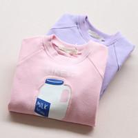 Wholesale Kids girls autumn new children s long sleeved round neck sweater milk bottles pullover cotton shirt top selling