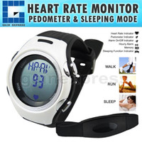 Wholesale HRM Heart Rate Monitor bpm Pedometer Belt Fat Calorie Counter Digital Sports Fitness Watch Sleep Walk Run
