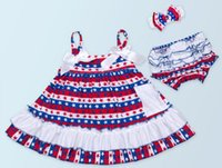 Wholesale 26Designs Baby American Flag Vest Dress PP Pants Romper Set With Bowknot Headband Newborn Leopard American Stars Strip Bowknot Rompers
