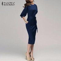 bell work - Plus Size S XL Women Spring Autumn OL Work Dress Half Sleeve Elegant Bodycon Knee Length Pencil Party Dresses Vestidos