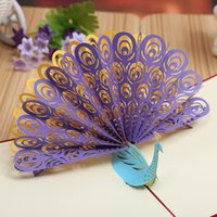 airs peacock - Exquisite Peacock Three dimensional Originality Paper Engraving Air Greeting Card DIY Heat Sell Manual Greeting Card Can Customized