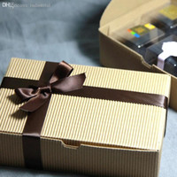 Wholesale cm Retro Kraft Paper Xmas Christmas Gift Packing Box Baking Dessert Candy Chocolate Snack Kraft Paper Pack Box