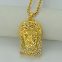 africa jesus - Big and Heavy Jesus Face Pendant Necklaces K Gold Plated W Stone Jesus Piece Necklace HipHop Christian Jewelry Africa B