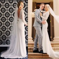 Wholesale 2017 Elegant Custom Made Illusion Bodice Long sleeves Plunging Neckline Sheath Wedding Dresses with Lace Appliques V Back View Sweep Train