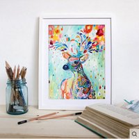 Wholesale 40X50cm wooden frame coloring painting by number on canvas color deer pictures in the living room home decoration animal G202