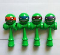 Wholesale DHL New ninja turtle Big size cm Emoji pattern Kendama Ball Japanese Traditional Wood Game Toy Education Gift Children toys B001