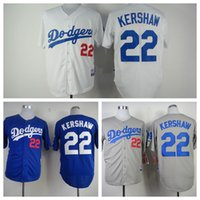 Wholesale cheap Mens LA Los Angeles Dodgers Jersey Clayton Kershaw white grey blue Baseball Jersey Embroidery Logo Top quality