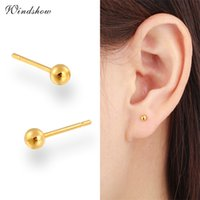 baby real gold earrings - 7 Size Balls K Yellow Real Gold Plated Piercing Small Round Ball Stud Earrings for Women Men Children Baby Girls Kids Jewelry