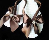 Wholesale brown flip flops sandal bow white bride bridemaid gift wedding sweetsixteen quinceanera birthday reception confirmation