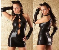 Wholesale Exotic Apparel PVC Suit Lingerie Leather Bodysuit Wild Catwomen Fetish Latex Cosplay Black Catsuit Sexy Costumes For Women