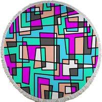 adult swim figures - Beach Towel_Geometric Figure Stripe Point Triangle Printed Round Microfiber Towel for Bath Swim
