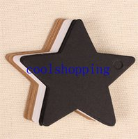 Wholesale Brown White Black Kraft Paper Labels Blank Five Pointed Star Gift Tags Retro Craft packaging Hang Tags sets