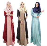 Wholesale 2016 New Arrival Muslim Dresses Xinjiang Uygur Clothing Set Long Sleeve Red Blue Grey Women Dresses Islamic Ethnic Clothing min8