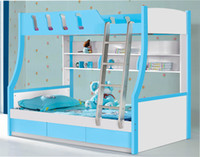 Wholesale 2pcs Set Cheap MDF Panels Children Kids Youth Teenage Bunk Bed with Labber and Drawer blue colour