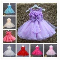 Wholesale Hot colors pure color Lace Kids girls Sequins Dancewear O Neck Vest tutu Princess dress with Big flower By EMS a0086