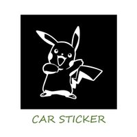 Wholesale 14 CM Pikach Car Sticker Poke Anime Motorcycle Car Stickers And Decals Black Silver HOT Sales