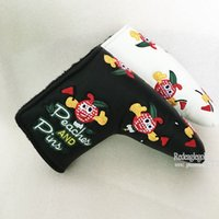 Wholesale Hot New Peach and Pins Golf clubs HeadCover High Quality PU Golf putter Cover in white black colors Golf equipment