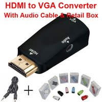Wholesale HDMI to VGA with Audio Cable HDMI to VGA Adapter Male To Female p HDMI to VGA Converter For PC TV Xbox PS3