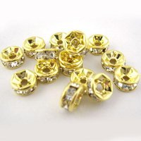 Wholesale 30pcs Czech Rhinestones Gold Rondelle Spacer Beads mm DIY Jewelry Beaded C0019 FAH