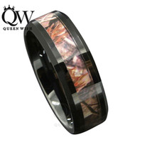Wholesale Queenwish mm Black Tungsten Men s Red Forest Camouflage Camo Hunting Band Ring Size anillo oso