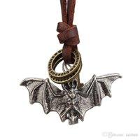 bats leather necklace - Rock Punk Genuine Leather Chain Fashion Men Women Bat Pendant Necklace