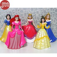 belle cake - New Princess Dolls Snow White Cinderella Aurora Ariel Belle Action Figure Toys Cartoon Model Kid Birthday Gift Cake Topper