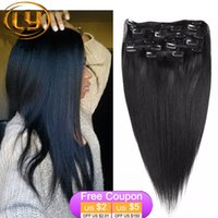 Wholesale cheap A virgin brazilian straight clip in human hair extensions for black women remy human hair clip on weave color b black