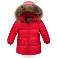 Wholesale 90 duck down Boys girls real raccoon fur collar quilted duck Super light down jacket outwear kids winter warm snow coat